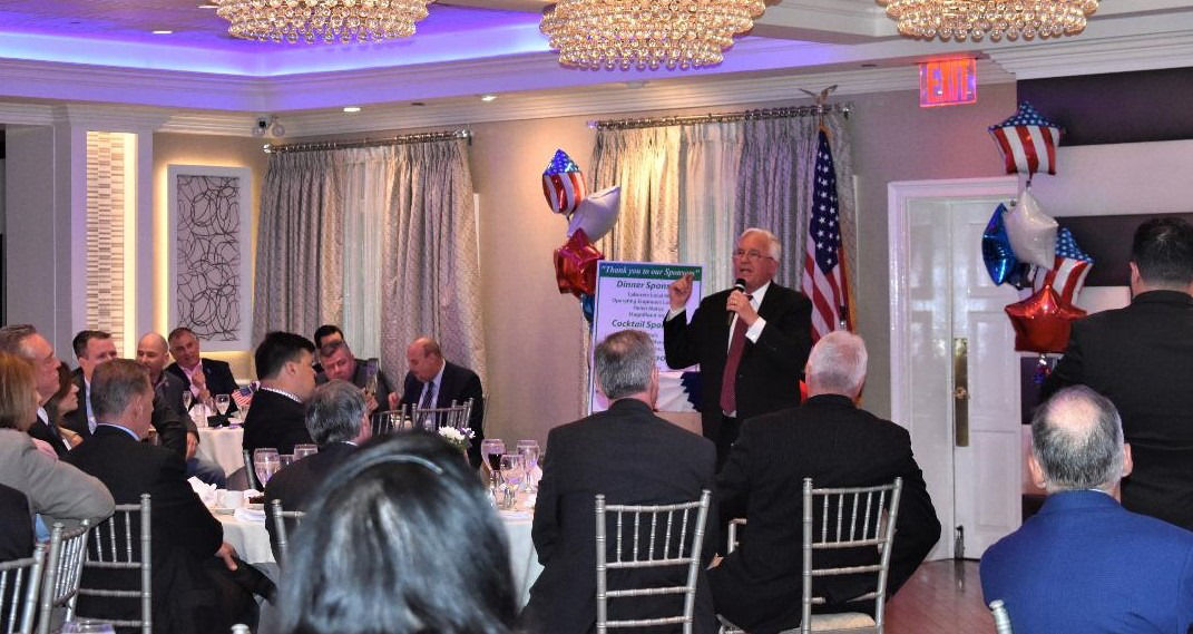 John M. Kennedy, Candidate for Suffolk County Executive, speaks to supporters and sponsors at his campaign kickoff event at Watermill Caterers in Smithtown on May 13.